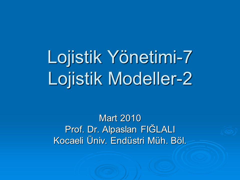 Lojistik Yönetimi-7 Lojistik Modeller-2 Mart 2010 Prof. Dr. Alpaslan FIĞLALI Kocaeli Üniv. Endüstri Müh. Böl.