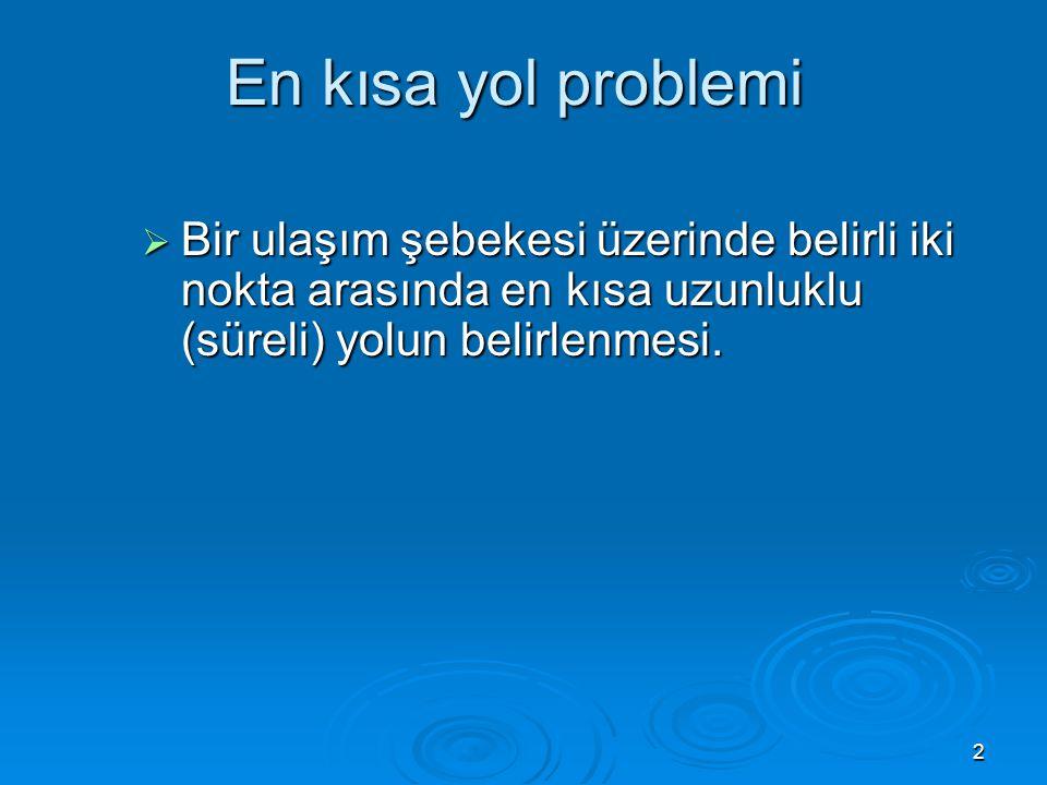 3 Problem Problem  A'dan J'ye en kısa sürede gidebilmek için hangi güzergah seçilmelidir.