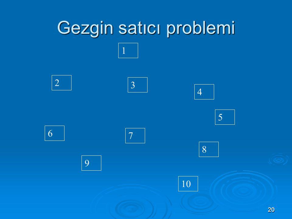20 Gezgin satıcı problemi 6 9 10 7 2 3 8 1 4 5