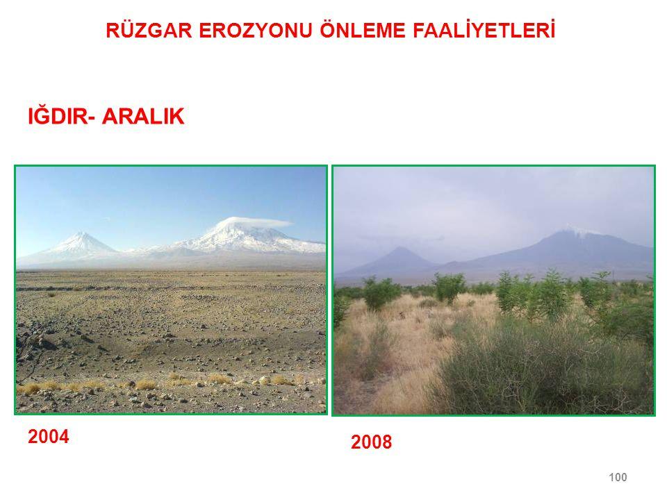 100 2004 2008 IĞDIR- ARALIK RÜZGAR EROZYONU ÖNLEME FAALİYETLERİ