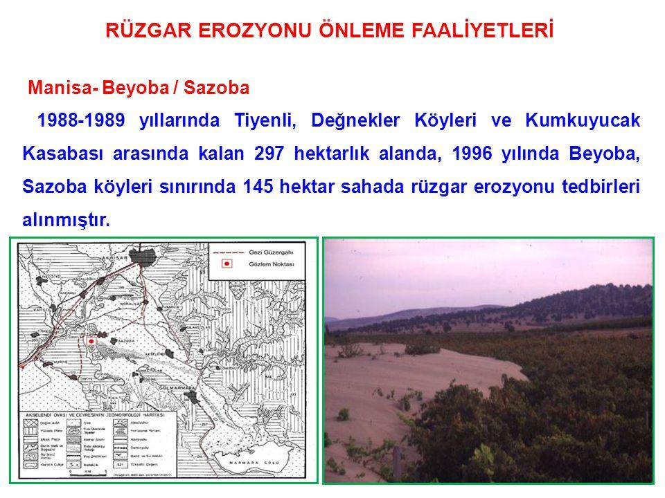 104 Manisa- Beyoba / Sazoba 1988-1989 yıllarında Tiyenli, Değnekler Köyleri ve Kumkuyucak Kasabası arasında kalan 297 hektarlık alanda, 1996 yılında Beyoba, Sazoba köyleri sınırında 145 hektar sahada rüzgar erozyonu tedbirleri alınmıştır.