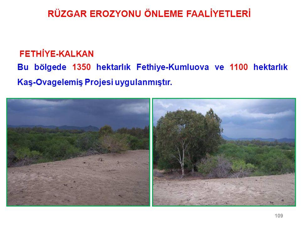 109 FETHİYE-KALKAN Bu bölgede 1350 hektarlık Fethiye-Kumluova ve 1100 hektarlık Kaş-Ovagelemiş Projesi uygulanmıştır. RÜZGAR EROZYONU ÖNLEME FAALİYETL