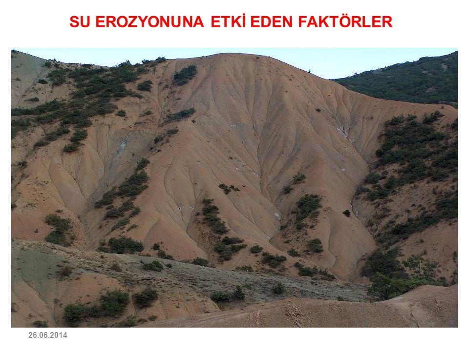 26.06.2014 SU EROZYONUNA ETKİ EDEN FAKTÖRLER TOPOGRAFYA : Yamacın eğimi ve uzunluğu erozyonda önemlidir. Erozyonun şiddeti bakımından eğim çok daha ön
