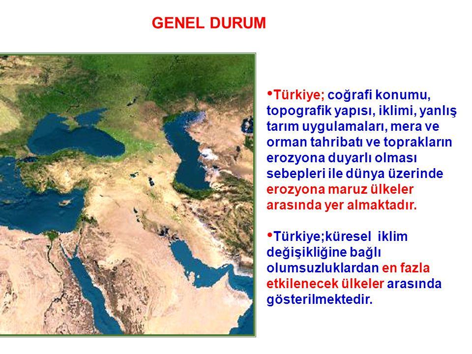 • Türkiye; coğrafi konumu, topografik yapısı, iklimi, yanlış tarım uygulamaları, mera ve orman tahribatı ve toprakların erozyona duyarlı olması sebepl
