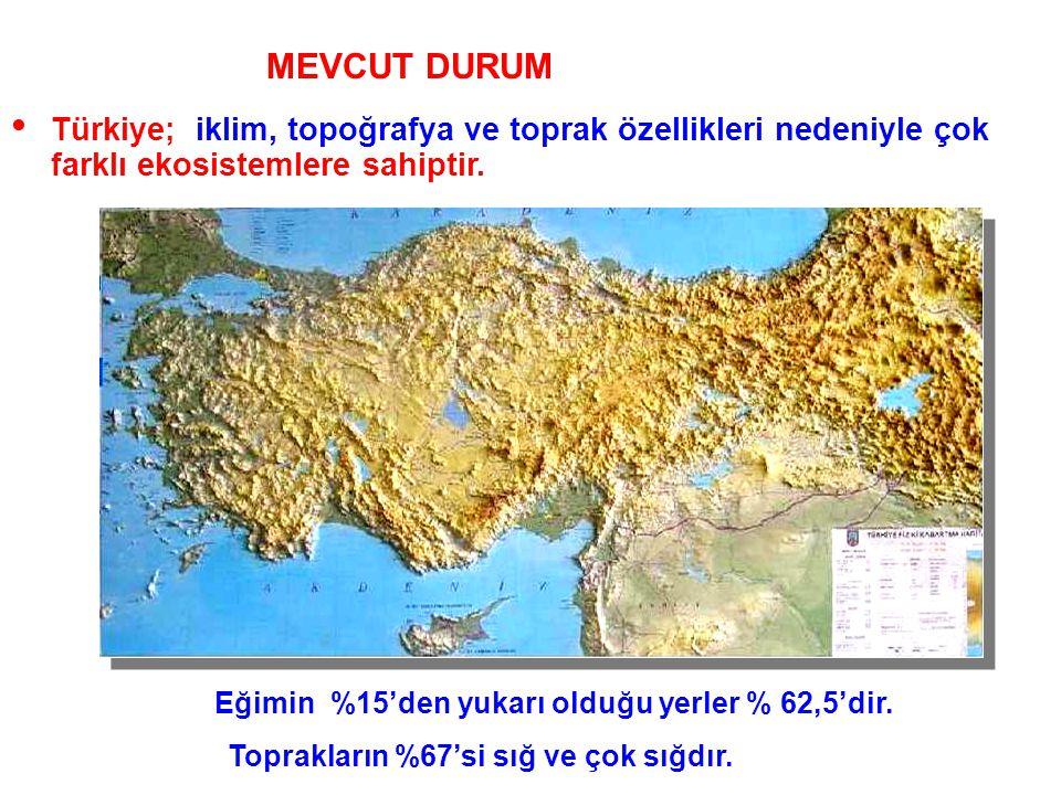 Genel Durum • Türkiye; iklim, topoğrafya ve toprak özellikleri nedeniyle çok farklı ekosistemlere sahiptir. Eğimin %15'den yukarı olduğu yerler % 62,5