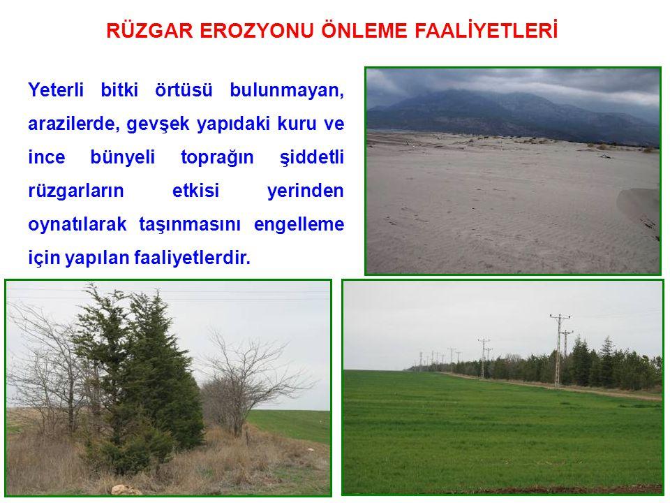 75 RÜZGAR EROZYONU ÖNLEME FAALİYETLERİ Yeterli bitki örtüsü bulunmayan, arazilerde, gevşek yapıdaki kuru ve ince bünyeli toprağın şiddetli rüzgarların