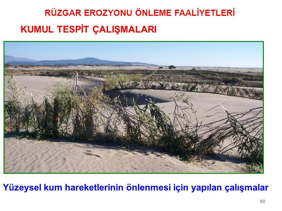 90 RÜZGAR EROZYONU ÖNLEME FAALİYETLERİ KUMUL TESPİT ÇALIŞMALARI Yüzeysel kum hareketlerinin önlenmesi için yapılan çalışmalar
