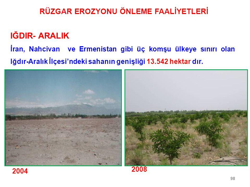 98 IĞDIR- ARALIK 2004 2008 İran, Nahcivan ve Ermenistan gibi üç komşu ülkeye sınırı olan Iğdır-Aralık İlçesi'ndeki sahanın genişliği 13.542 hektar dır.