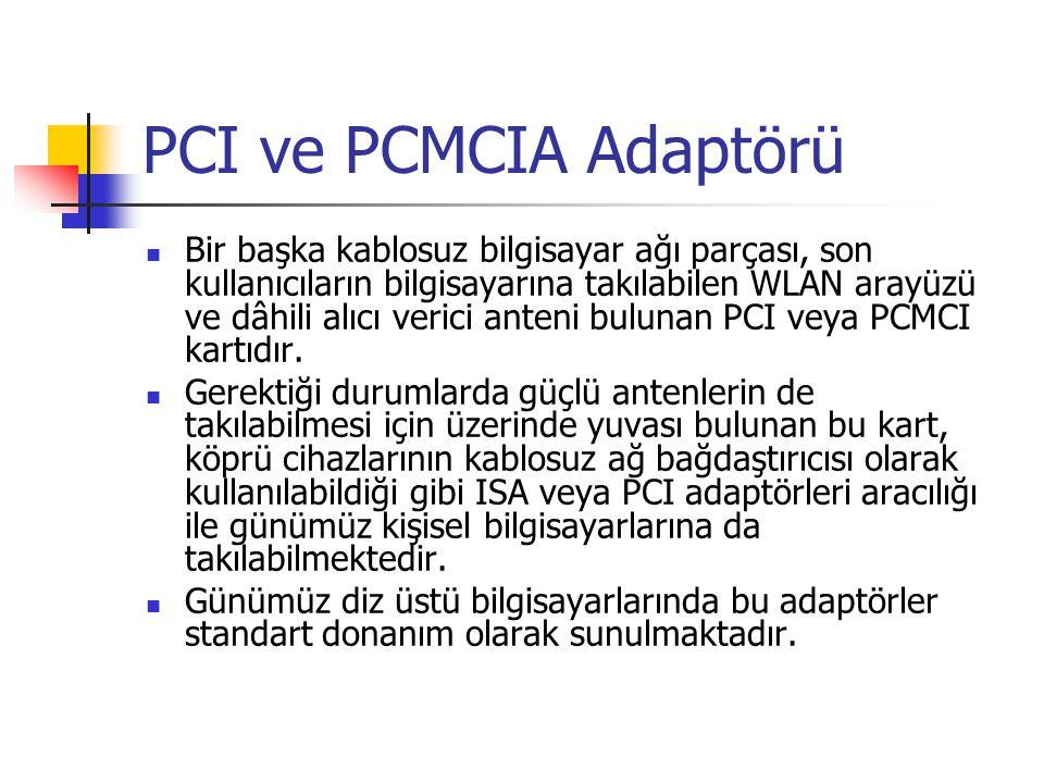 PCI ve PCMCIA Adaptörü  Bir başka kablosuz bilgisayar ağı parçası, son kullanıcıların bilgisayarına takılabilen WLAN arayüzü ve dâhili alıcı verici anteni bulunan PCI veya PCMCI kartıdır.