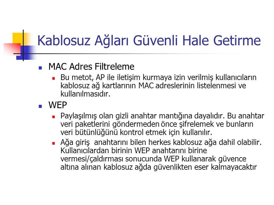 Kablosuz Ağları Güvenli Hale Getirme  MAC Adres Filtreleme  Bu metot, AP ile iletişim kurmaya izin verilmiş kullanıcıların kablosuz ağ kartlarının MAC adreslerinin listelenmesi ve kullanılmasıdır.
