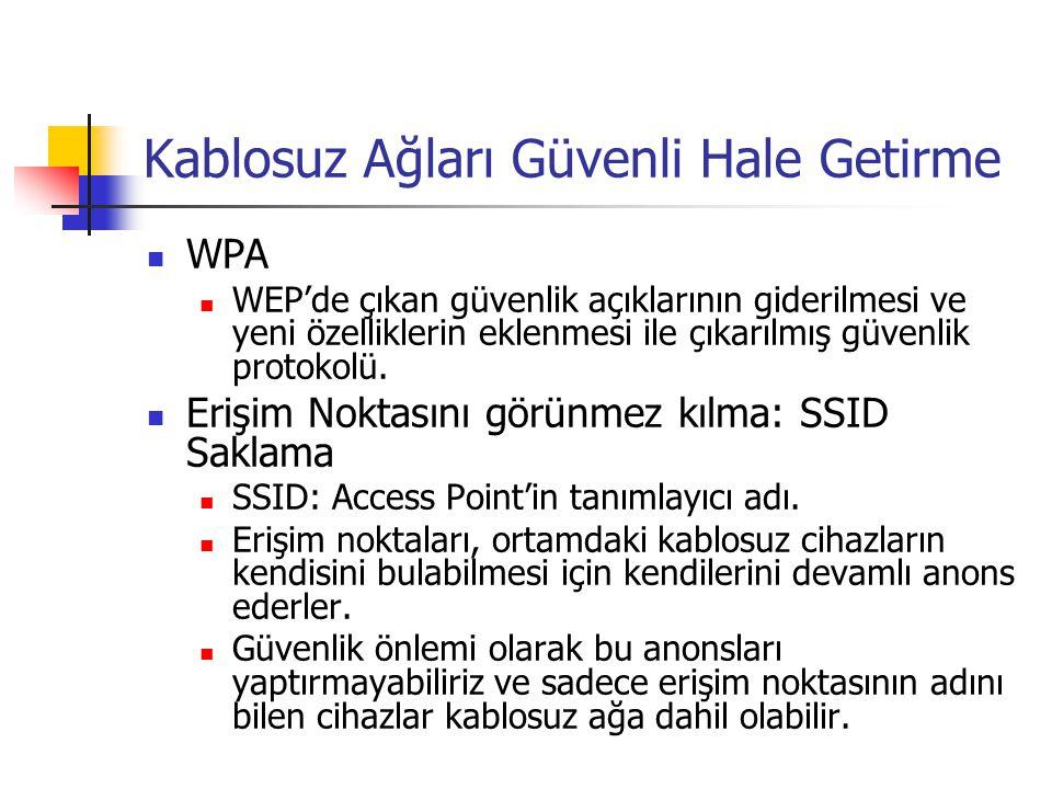 Kablosuz Ağları Güvenli Hale Getirme  WPA  WEP'de çıkan güvenlik açıklarının giderilmesi ve yeni özelliklerin eklenmesi ile çıkarılmış güvenlik protokolü.