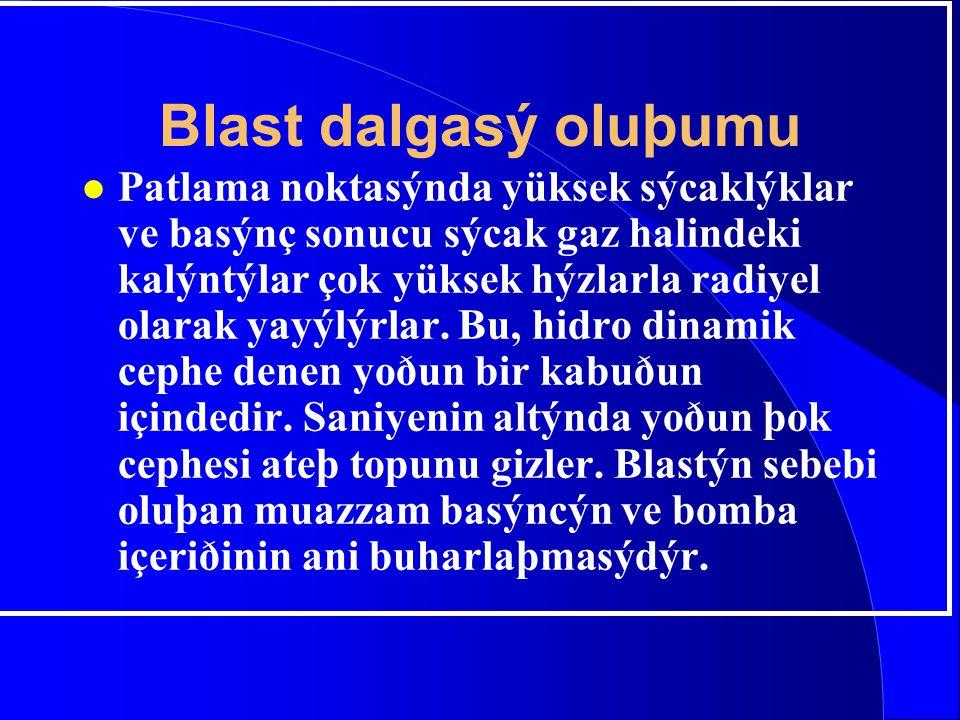 Blast dalgasý oluþumu l Patlama noktasýnda yüksek sýcaklýklar ve basýnç sonucu sýcak gaz halindeki kalýntýlar çok yüksek hýzlarla radiyel olarak yayýl