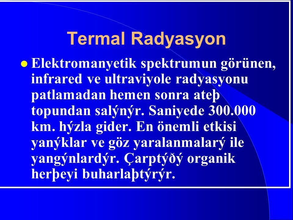 Termal Radyasyon l Elektromanyetik spektrumun görünen, infrared ve ultraviyole radyasyonu patlamadan hemen sonra ateþ topundan salýnýr. Saniyede 300.0
