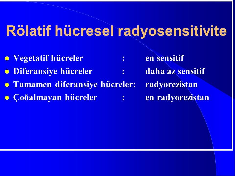 Rölatif hücresel radyosensitivite l Vegetatif hücreler:en sensitif l Diferansiye hücreler:daha az sensitif l Tamamen diferansiye hücreler:radyorezista