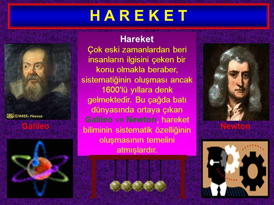 H A R E K E T Hareket Çok eski zamanlardan beri insanların ilgisini çeken bir konu olmakla beraber, sistematiğinin oluşması ancak 1600'lü yıllara denk