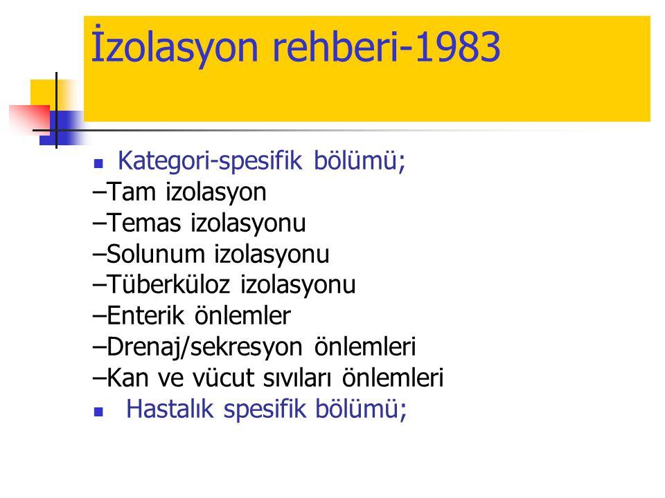 İzolasyon rehberi-1983  Kategori-spesifik bölümü; –Tam izolasyon –Temas izolasyonu –Solunum izolasyonu –Tüberküloz izolasyonu –Enterik önlemler –Dren