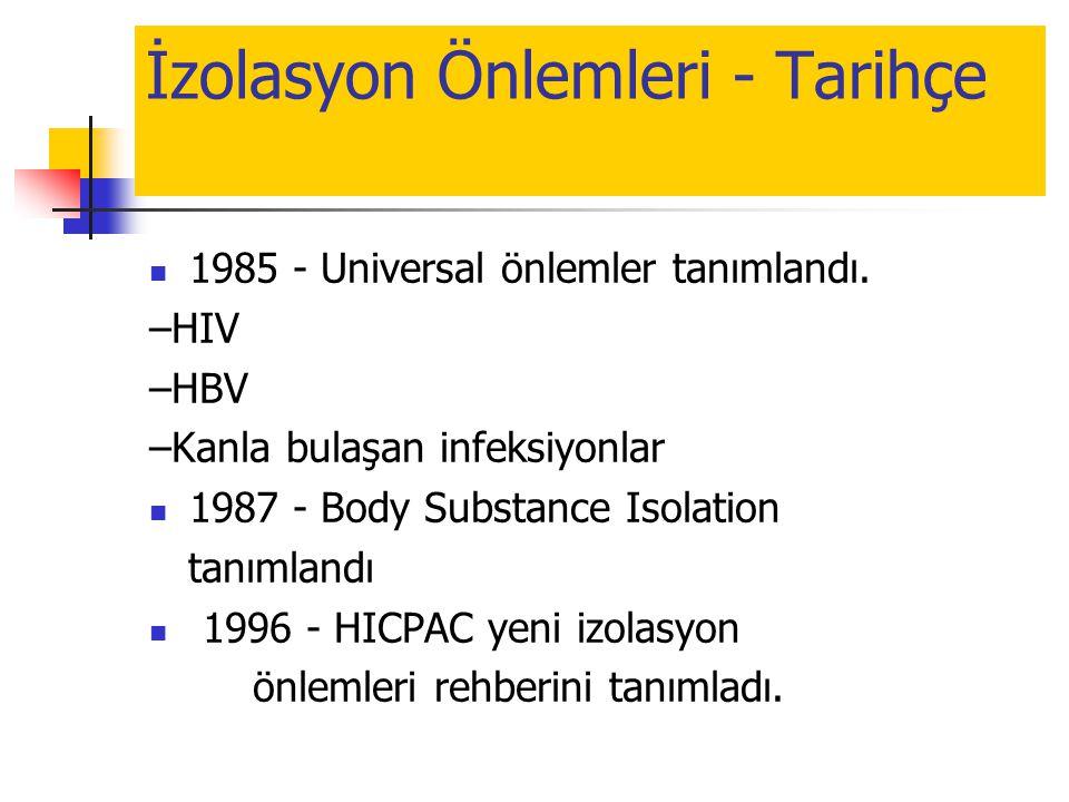 İzolasyon Önlemleri - Tarihçe  1985 - Universal önlemler tanımlandı. –HIV –HBV –Kanla bulaşan infeksiyonlar  1987 - Body Substance Isolation tanımla