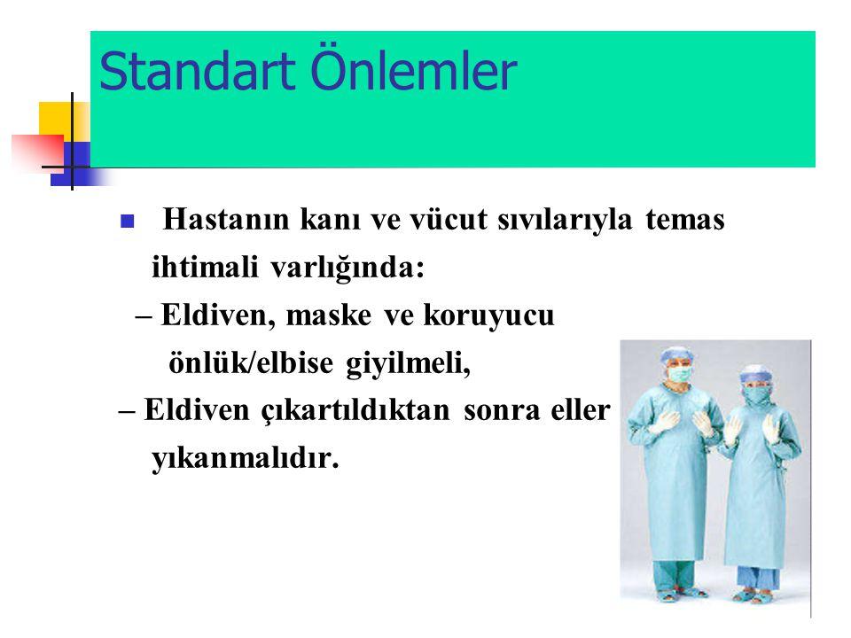 Standart Önlemler  Hastanın kanı ve vücut sıvılarıyla temas ihtimali varlığında: – Eldiven, maske ve koruyucu önlük/elbise giyilmeli, – Eldiven çıkar