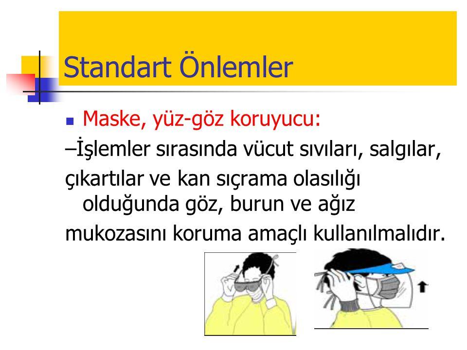 Standart Önlemler  Maske, yüz-göz koruyucu: –İşlemler sırasında vücut sıvıları, salgılar, çıkartılar ve kan sıçrama olasılığı olduğunda göz, burun ve