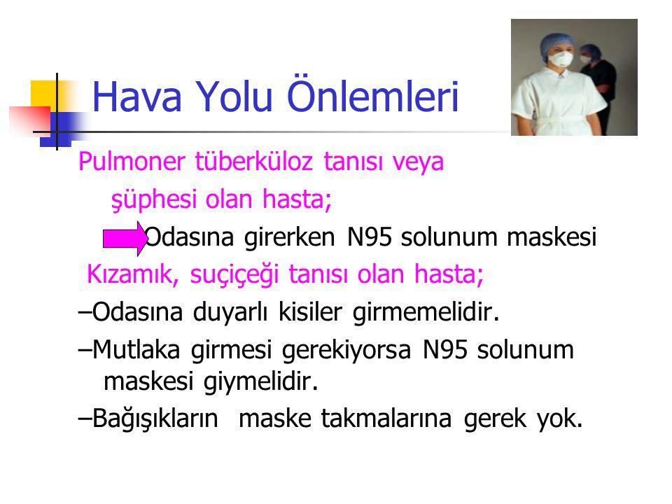 Hava Yolu Önlemleri Pulmoner tüberküloz tanısı veya şüphesi olan hasta; Odasına girerken N95 solunum maskesi Kızamık, suçiçeği tanısı olan hasta; –Oda