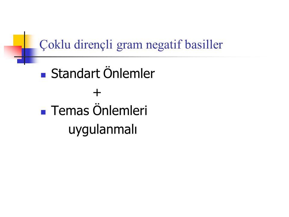 Çoklu dirençli gram negatif basiller  Standart Önlemler +  Temas Önlemleri uygulanmalı