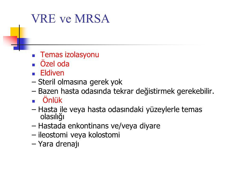 VRE ve MRSA  Temas izolasyonu  Özel oda  Eldiven – Steril olmasına gerek yok – Bazen hasta odasında tekrar değistirmek gerekebilir.  Önlük – Hasta