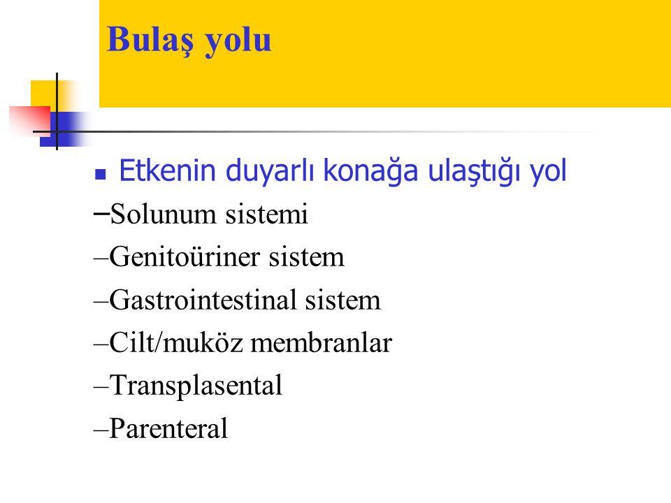 Bulaş yolu  Etkenin duyarlı konağa ulaştığı yol – Solunum sistemi –Genitoüriner sistem –Gastrointestinal sistem –Cilt/muköz membranlar –Transplasenta