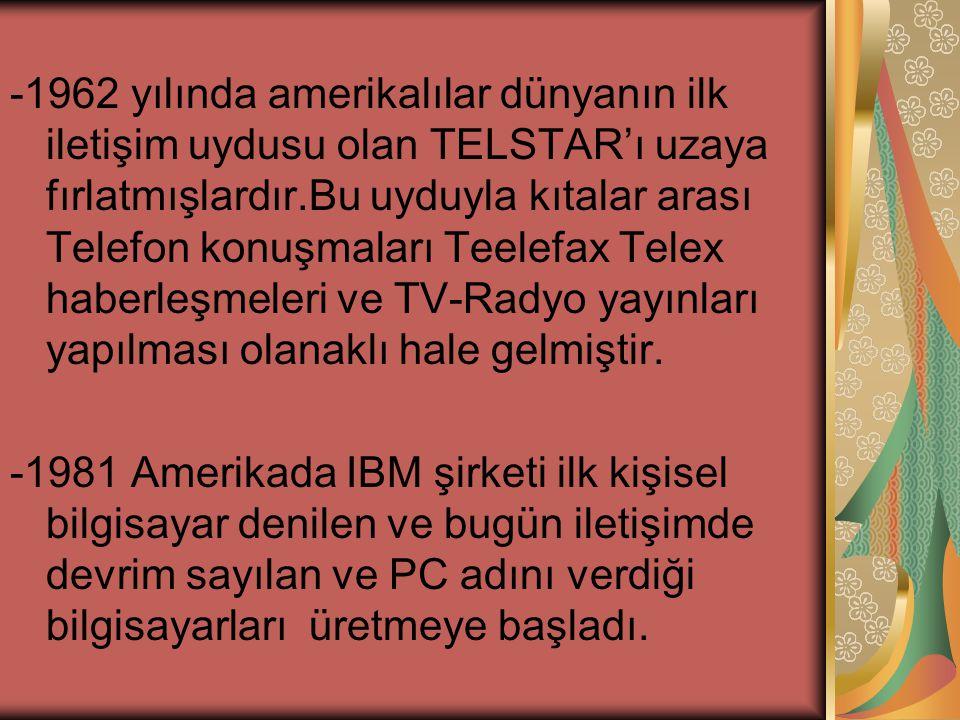 -1962 yılında amerikalılar dünyanın ilk iletişim uydusu olan TELSTAR'ı uzaya fırlatmışlardır.Bu uyduyla kıtalar arası Telefon konuşmaları Teelefax Telex haberleşmeleri ve TV-Radyo yayınları yapılması olanaklı hale gelmiştir.