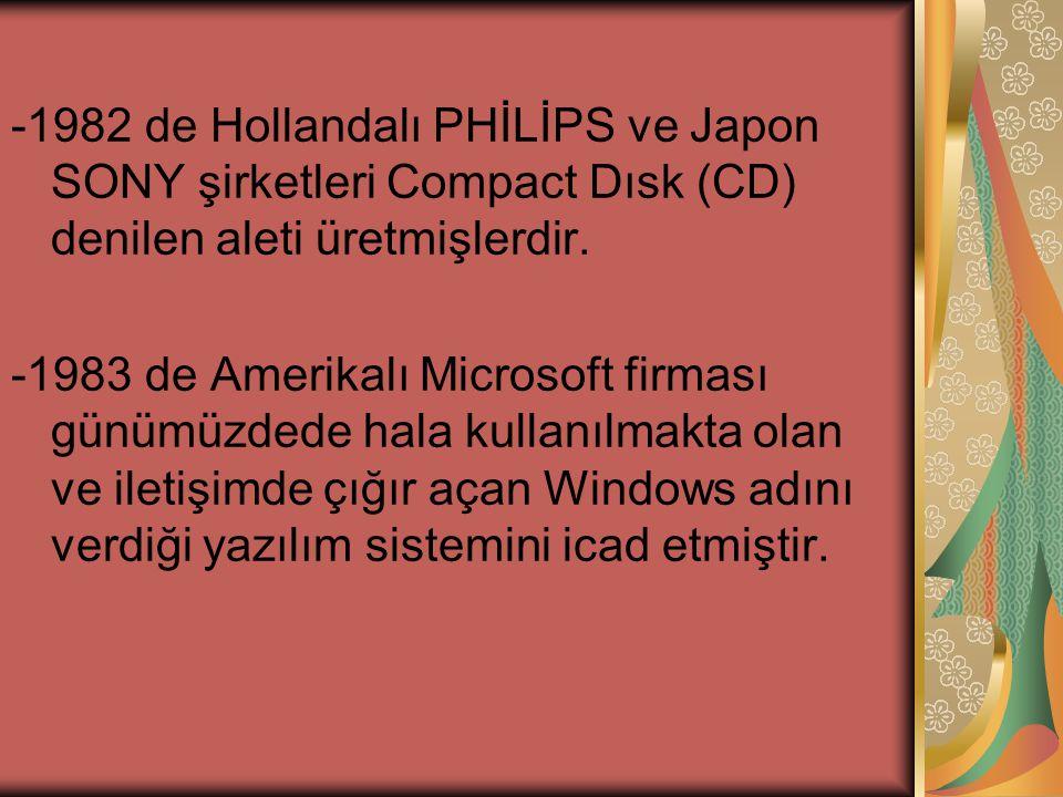 -1982 de Hollandalı PHİLİPS ve Japon SONY şirketleri Compact Dısk (CD) denilen aleti üretmişlerdir.