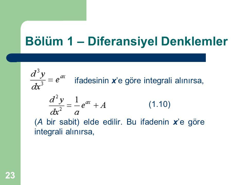 23 Bölüm 1 – Diferansiyel Denklemler ifadesinin x'e göre integrali alınırsa, (1.10) (A bir sabit) elde edilir. Bu ifadenin x'e göre integrali alınırsa