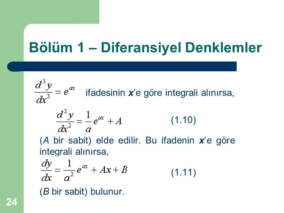 24 Bölüm 1 – Diferansiyel Denklemler ifadesinin x'e göre integrali alınırsa, (1.10) (A bir sabit) elde edilir. Bu ifadenin x'e göre integrali alınırsa