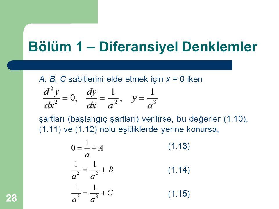 28 Bölüm 1 – Diferansiyel Denklemler A, B, C sabitlerini elde etmek için x = 0 iken şartları (başlangıç şartları) verilirse, bu değerler (1.10), (1.11) ve (1.12) nolu eşitliklerde yerine konursa, (1.13) (1.14) (1.15)