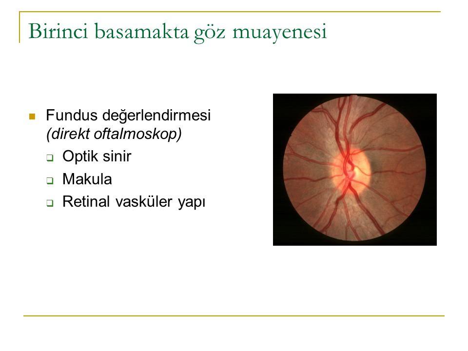 Birinci basamakta göz muayenesi  Fundus değerlendirmesi (direkt oftalmoskop)  Optik sinir  Makula  Retinal vasküler yapı