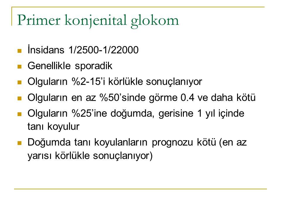 Primer konjenital glokom  İnsidans 1/2500-1/22000  Genellikle sporadik  Olguların %2-15'i körlükle sonuçlanıyor  Olguların en az %50'sinde görme 0