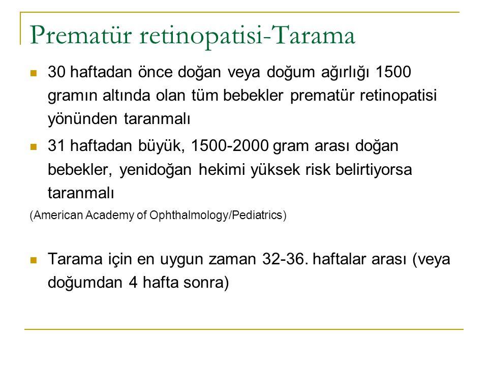 Prematür retinopatisi-Tarama  30 haftadan önce doğan veya doğum ağırlığı 1500 gramın altında olan tüm bebekler prematür retinopatisi yönünden taranma