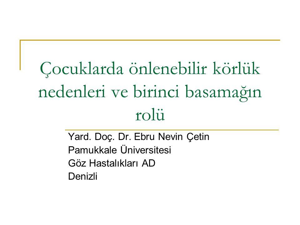 Çocuklarda önlenebilir körlük nedenleri ve birinci basamağın rolü Yard. Doç. Dr. Ebru Nevin Çetin Pamukkale Üniversitesi Göz Hastalıkları AD Denizli