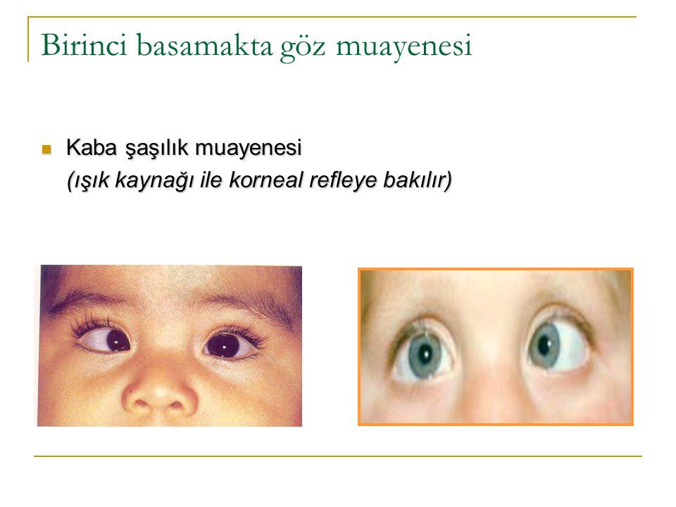 Birinci basamakta göz muayenesi  Kaba görme muayenesi - (ışık kaynağı, resim, oyuncak, görme eşeli) Bebekler iyi gören gözün kapatılmasına tepki gösterirler