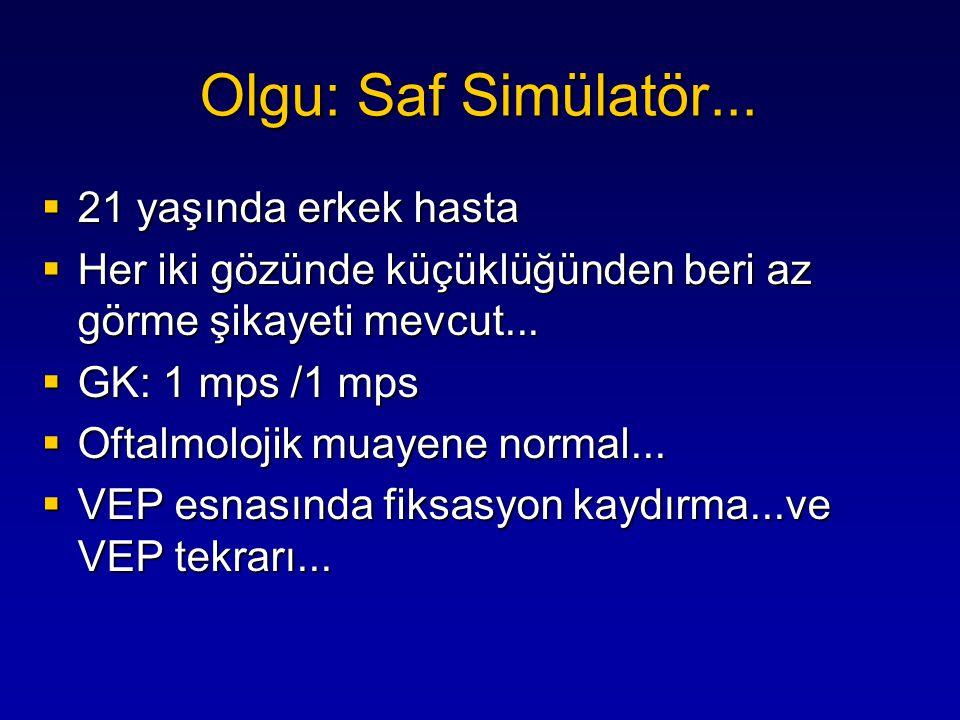 ...+ gece görememe → Normal ERG  Cesaretlendirme ile GK → Tam/Tam Olgu: Saf Simülatör...