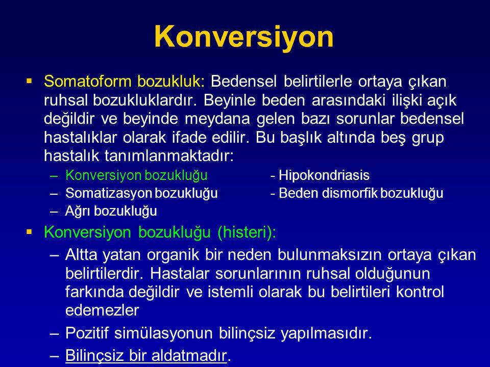 Temaruz-Konversiyon TemaruzKonversiyon Belirtiler bilinçli+- Belirtiler bilinç dışı-+ Çıkar amaçlı+- İkincil kazanç-+