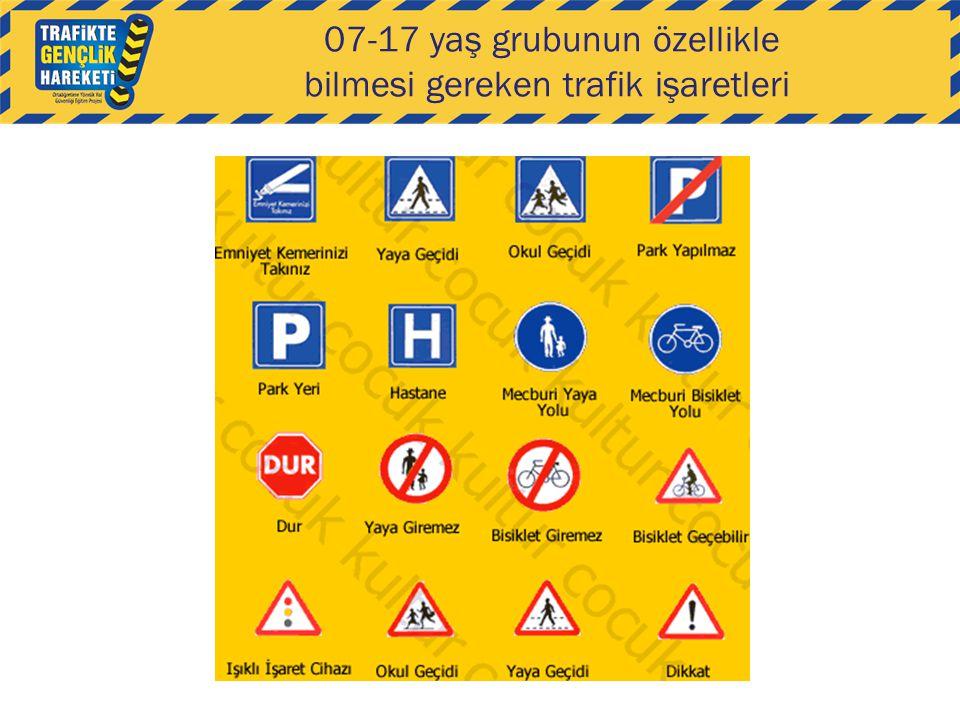 07-17 yaş grubunun özellikle bilmesi gereken trafik işaretleri