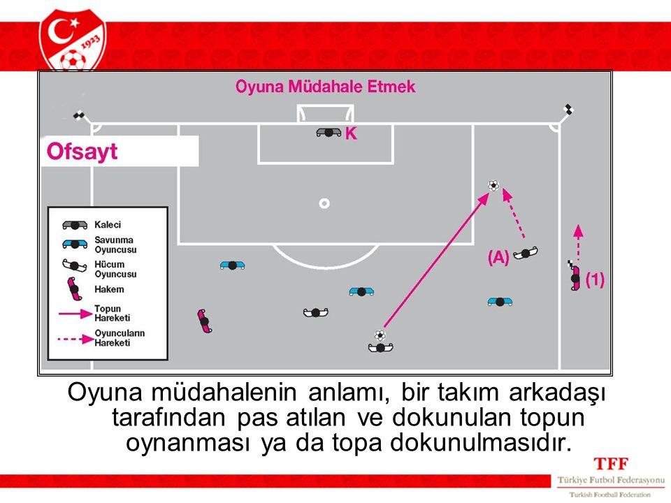 Oyuna müdahalenin anlamı, bir takım arkadaşı tarafından pas atılan ve dokunulan topun oynanması ya da topa dokunulmasıdır.