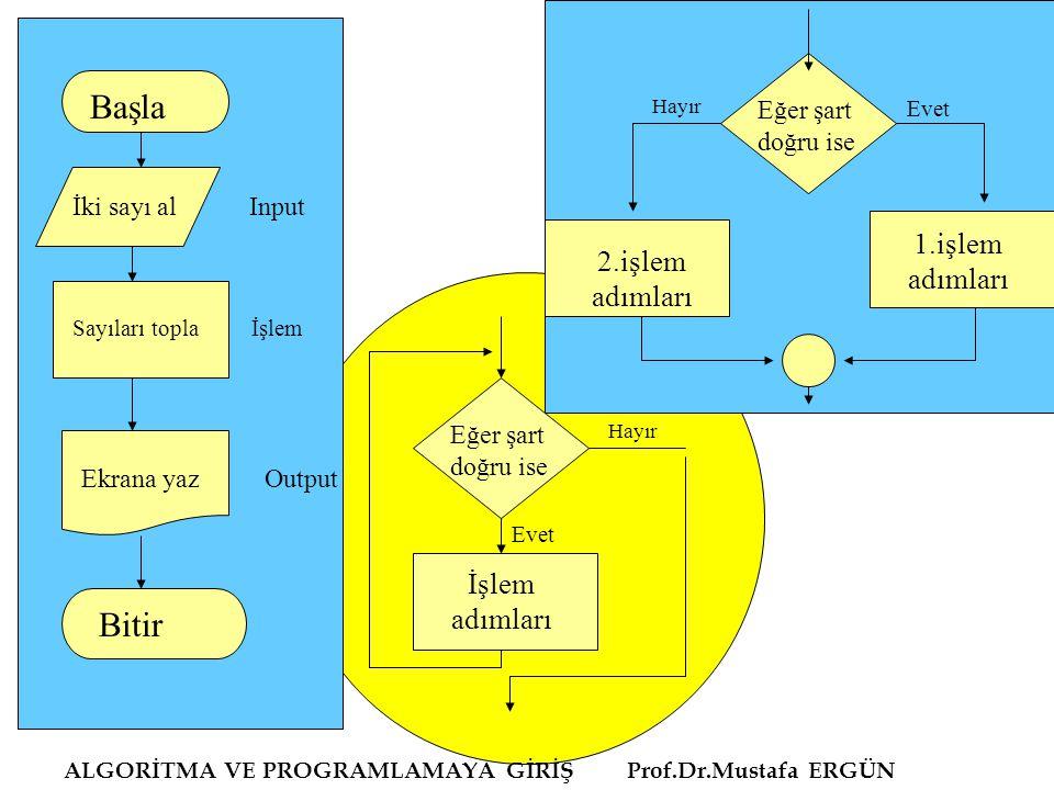 ALGORİTMA VE PROGRAMLAMAYA GİRİŞ Prof.Dr.Mustafa ERGÜN Başla İki sayı al Input Sayıları topla İşlem Ekrana yaz Output Bitir Eğer şart doğru ise Hayır Evet 1.işlem adımları 2.işlem adımları Eğer şart doğru ise İşlem adımları Evet Hayır