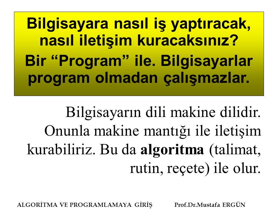 ALGORİTMA VE PROGRAMLAMAYA GİRİŞ Prof.Dr.Mustafa ERGÜN Program yazma, çözülmüş bir problemin bir bilgisayar dili ile kodlarını yazmaktır (coding).