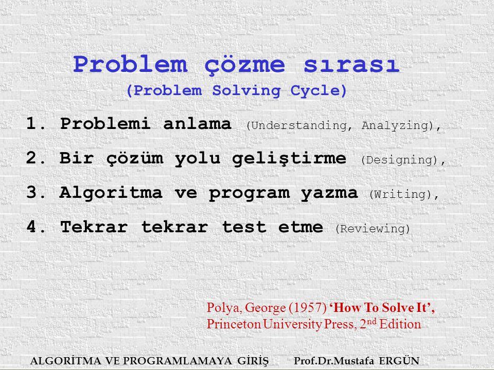 ALGORİTMA VE PROGRAMLAMAYA GİRİŞ Prof.Dr.Mustafa ERGÜN Problem çözme sırası (Problem Solving Cycle) 1.