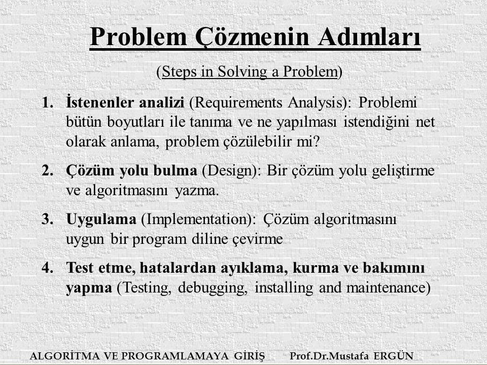 ALGORİTMA VE PROGRAMLAMAYA GİRİŞ Prof.Dr.Mustafa ERGÜN Problem Çözmenin Adımları (Steps in Solving a Problem) 1.İstenenler analizi ( Requirements Analysis ): Problemi bütün boyutları ile tanıma ve ne yapılması istendiğini net olarak anlama, problem çözülebilir mi.
