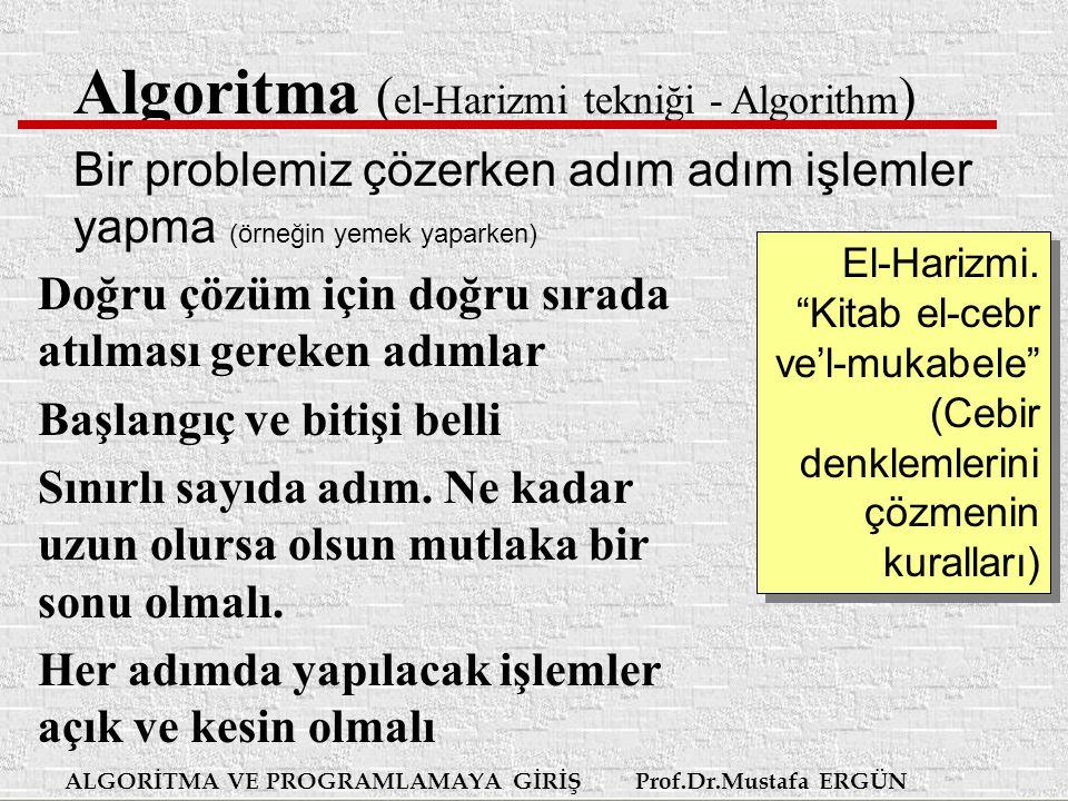 ALGORİTMA VE PROGRAMLAMAYA GİRİŞ Prof.Dr.Mustafa ERGÜN Algoritma Algoritma sadece bilgisayar programlamada kullanılmaz.