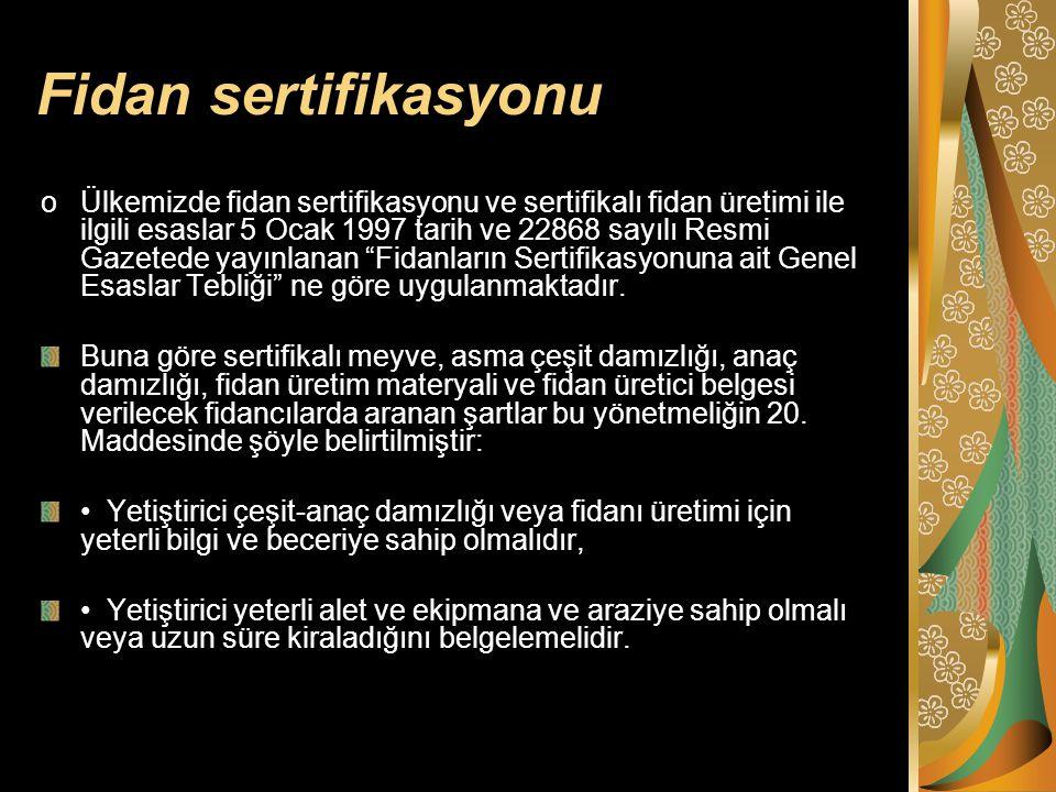 Fidan sertifikasyonu oÜlkemizde fidan sertifikasyonu ve sertifikalı fidan üretimi ile ilgili esaslar 5 Ocak 1997 tarih ve 22868 sayılı Resmi Gazetede