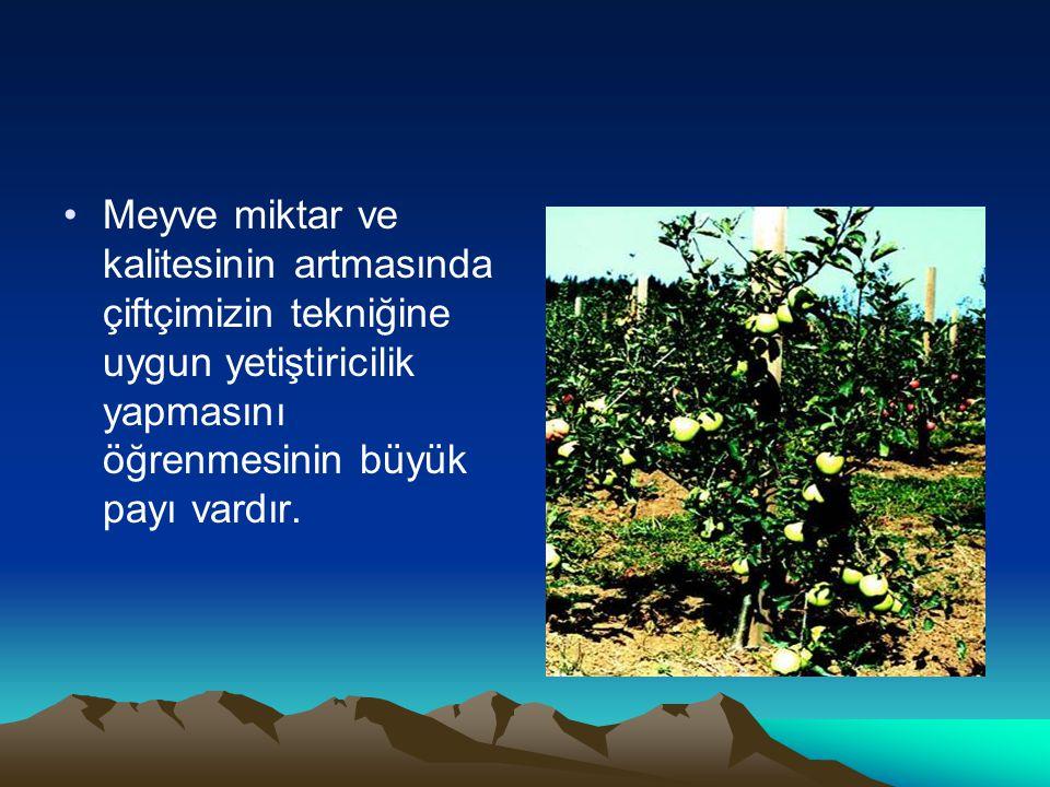 •Meyve miktar ve kalitesinin artmasında çiftçimizin tekniğine uygun yetiştiricilik yapmasını öğrenmesinin büyük payı vardır.