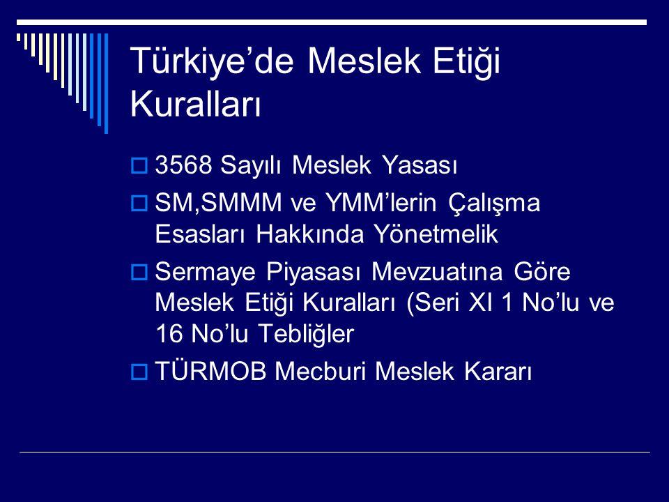 Türkiye'de Meslek Etiği Kuralları  3568 Sayılı Meslek Yasası  SM,SMMM ve YMM'lerin Çalışma Esasları Hakkında Yönetmelik  Sermaye Piyasası Mevzuatın