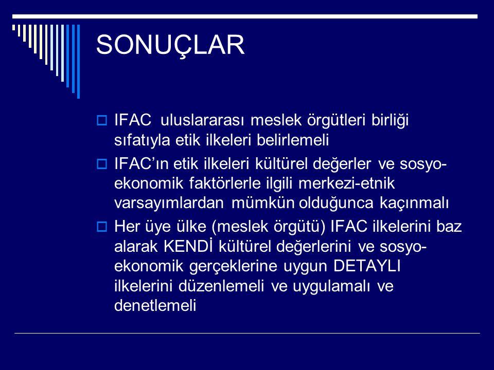 SONUÇLAR  IFAC uluslararası meslek örgütleri birliği sıfatıyla etik ilkeleri belirlemeli  IFAC'ın etik ilkeleri kültürel değerler ve sosyo- ekonomik